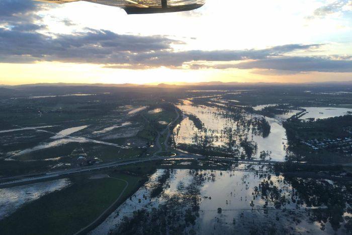 Aerial of Rockhampton flooding