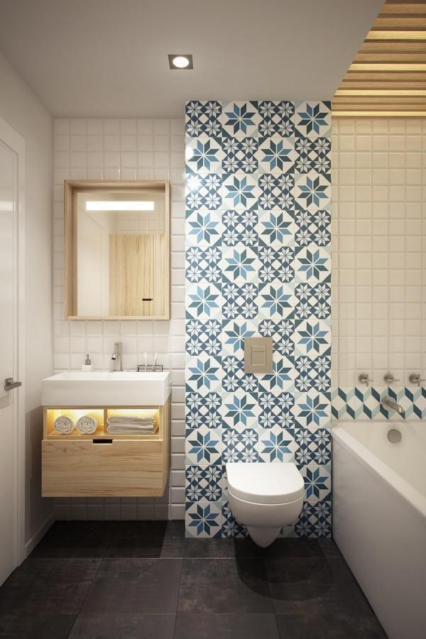 Kék-fehér tapéta - fürdő / WC ötletek