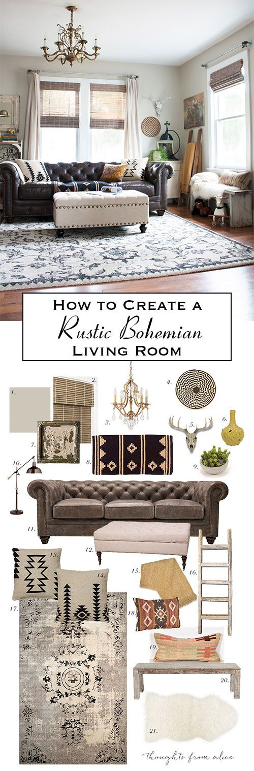 Thoughts from Alice: How to Create a Rustic Bohemian Living Room {Source List & Inspiration}