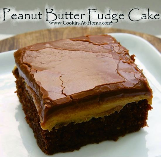 Peanut Butter Fudge Cake - butter, cake, chocolate, dessert, milk, peanut, powder, recipes