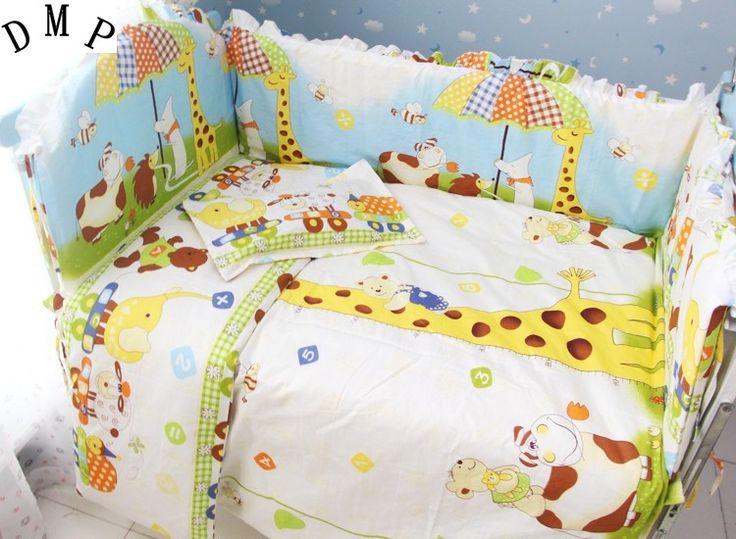 78.90$  Buy here - Promotion! 7pcs Kid Bedding Set Baby Bedding Set 100% Cotton,Crib Sheet For Baby (4bumper+duvet+matress+pillow)  #buyininternet