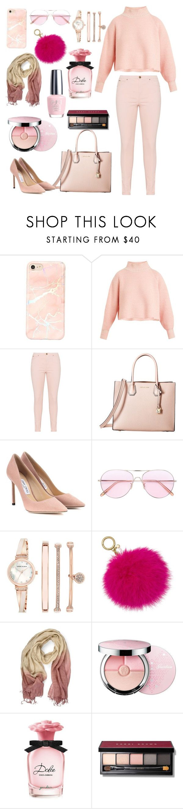 """Pink Fashion"" by brunaelle-minet ❤ liked on Polyvore featuring Vika Gazinskaya, MICHAEL Michael Kors, Jimmy Choo, Oliver Peoples, Anne Klein, Michael Kors, Guerlain, Dolce&Gabbana, OPI and Bobbi Brown Cosmetics"