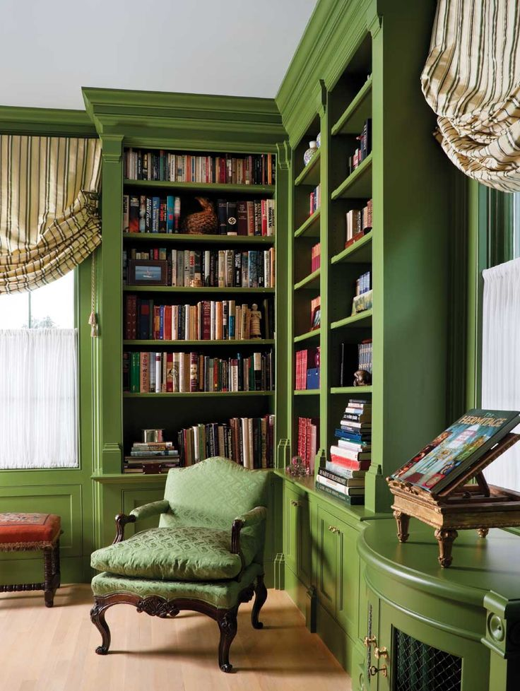I love these green bookcases!  Interior designer Charles Spada decorated this house in Essex, CT twice, 20 years apart.