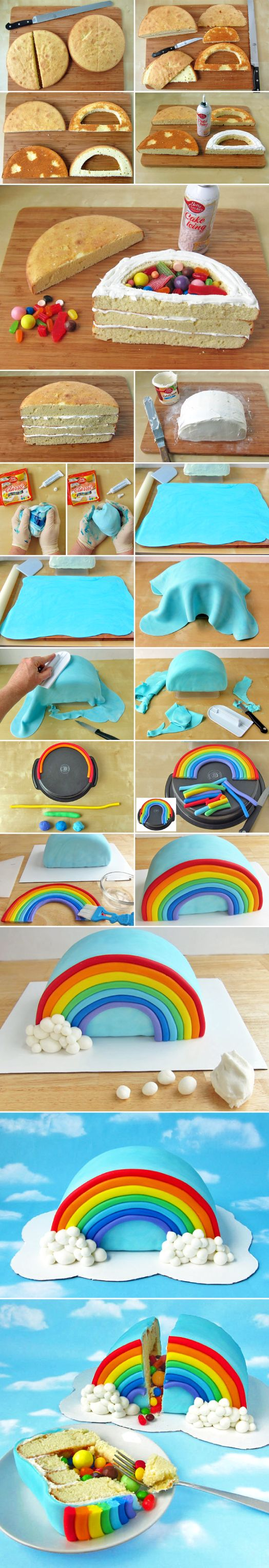 Rainbow-cake-sorpresa. I'm definitely gonna try this one for my bro. I think he'll love it when I use nothing but skittles inside eeeeehhhhhhh