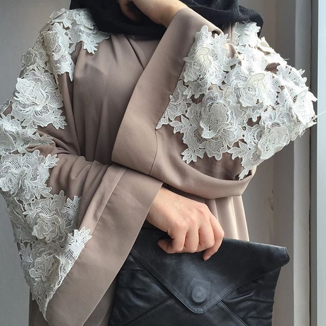 Taupe#abaya#lace#crochet#modestfashion