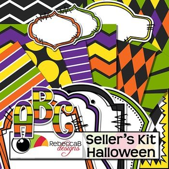 Seller's Kit Halloween has a traditional Halloween color theme and is loaded with plenty of coordinating elements for sellers to create eye catching product covers. Place a frame over a stunning patterned background and add your title with the striped alphabet letters over a label or header.