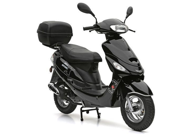SET: Motorroller inkl. Topcase, 49-ccm, 45 km/h, »Eco Fox«, Nova Motors. Voller Fahrspaß auf zwei Rädern - günstig in der Anschaffung und dank des 49-ccm-1 Zylinder-4 Takt-Motors sparsam im Verbrauch. Für genügend Stauraum sorgt das Topcase und das Staufach unter der Sitzbank.49-ccm- 4-Takt-Motor nach EURO-2-Norm, Leistung 2,2 kW/3 PS, Höchstgeschwindigkeit 45 km/h, Scheibenbremse vorn, Trommel...