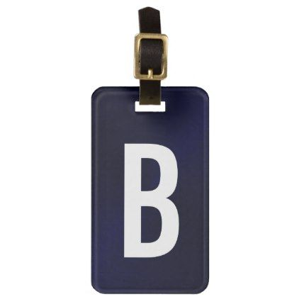Navy Blue Brushed Metallic Monogram Initial Bag Tag - brushed metal gifts cool unique special gift idea