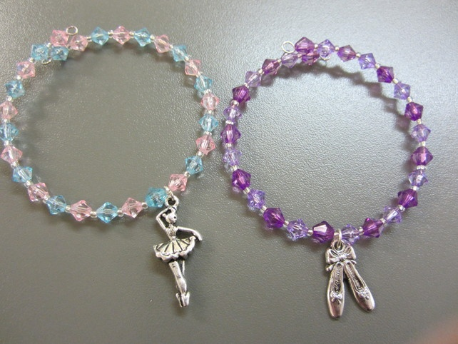 Memory Wire Beaded Bangle - Set of Two - Ballet themed £4.00