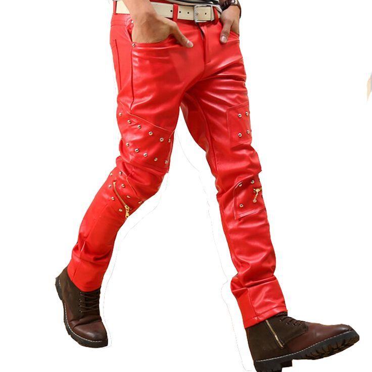 Studded Hip Hop Punk Rock Leather Pants Men Red Black Motorcycle Biker Trouser Men Nightclub Clothes With Zipper