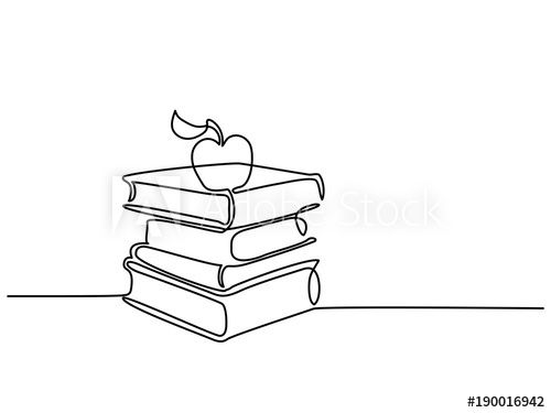 Continuous line drawing. Stack of books with apple. Vector
