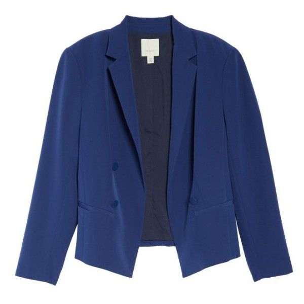 Plus Size Women's Sejour Crop Open Front Blazer (7.500 RUB) ❤ liked on Polyvore featuring outerwear, jackets, blazers, blue jackets, stretch blazer, blue blazer jacket, blue blazer and cropped jacket