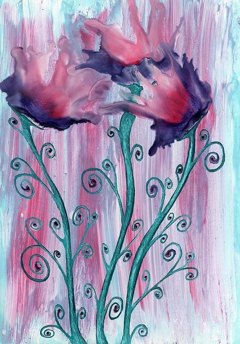 Beautiful blooms encaustic art wax painting