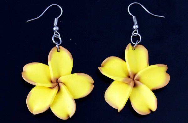 *SF* Ohrhänger Ohrstecker Ohrringe Ohrschmuck Hibiskus gelb braun groß handgefer in Uhren & Schmuck, Folkloreschmuck, Asiatischer Schmuck | eBay!
