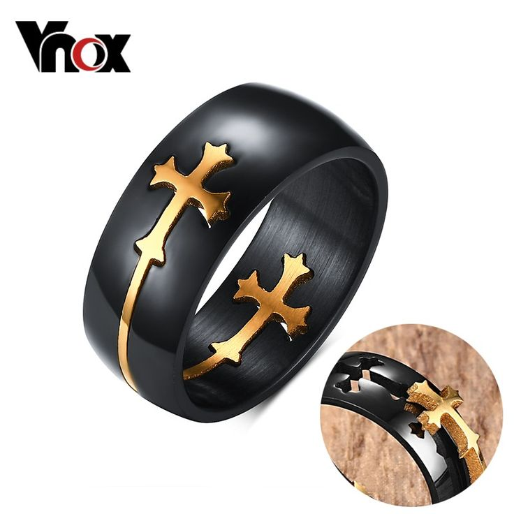 Separable Cross Ring for Men Woman Black Color Stainless Steel Cool Male Design Jewelry Just look, that`s outstanding! #Jewelry #shop #beauty #Woman's fashion #Products