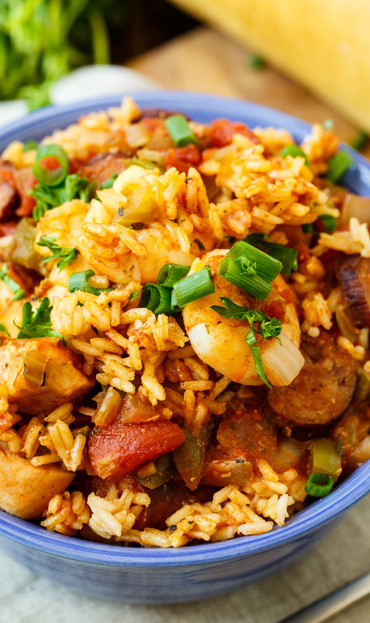 Slow Cooker Jambalaya with chicken and shrimp.