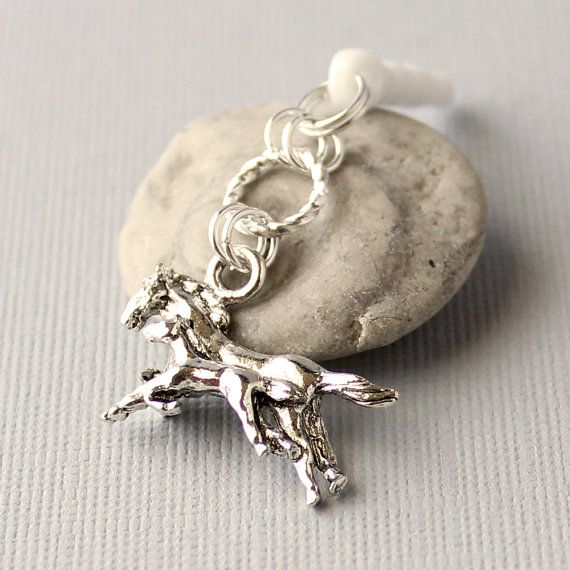 Dust Plug Charm  Horse Charm Running Horses Silver by Buntique, $7.50