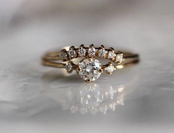 14k Gold Diamond Bridal Ring Set Diamond Crown Fairytale Wedding
