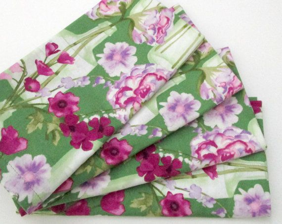 Cloth Napkins  Set of 4  Pink Purple Flowers Green by ClearSkyHome