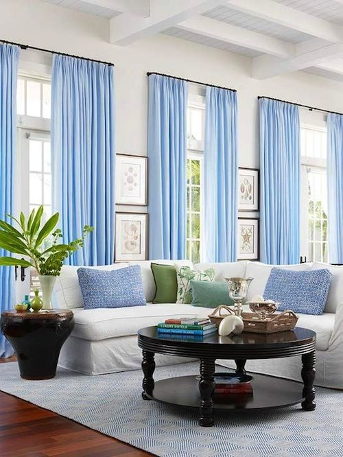 White walls baby blue curtains decor living room for Living room ideas blue curtains