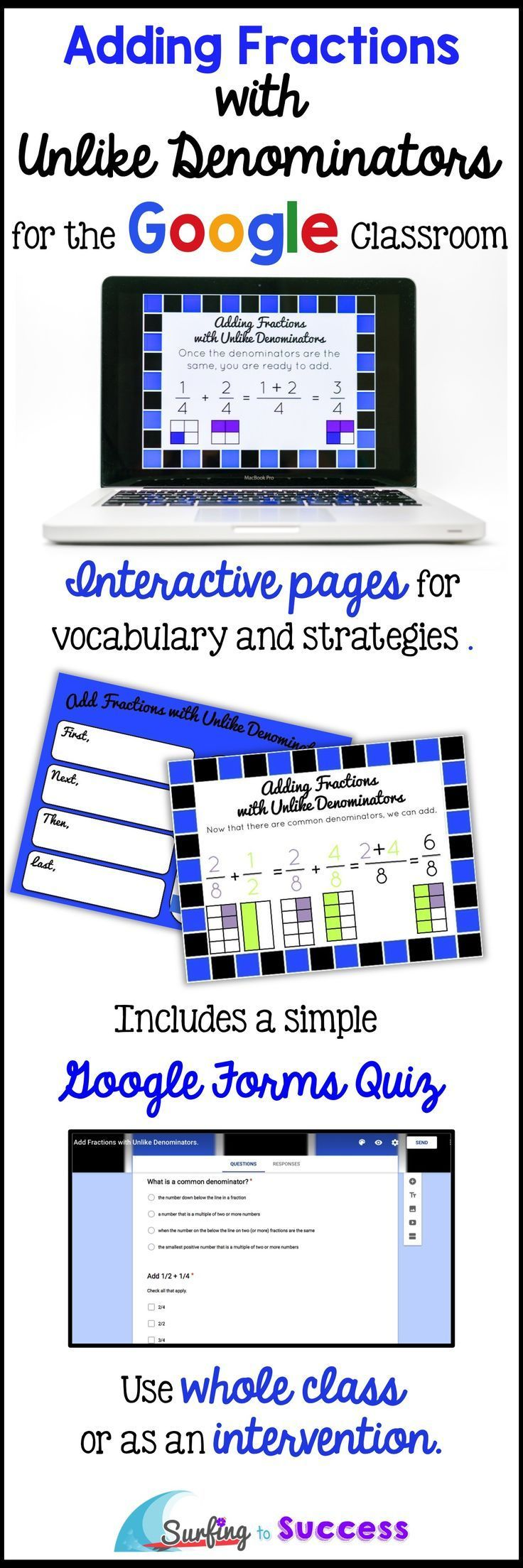 Digital Interactive Lesson and Practice for Adding Fractions with Unlike Denominators | Step by Step | Digital Interactive Notebook Pages | Whole Class or Intervention | Google Forms Quiz Provided