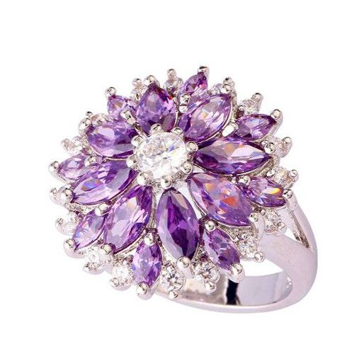 Amethyst and White Topaz Flower Ring #UCHARMMEconz #Gift #shipping #free #plus