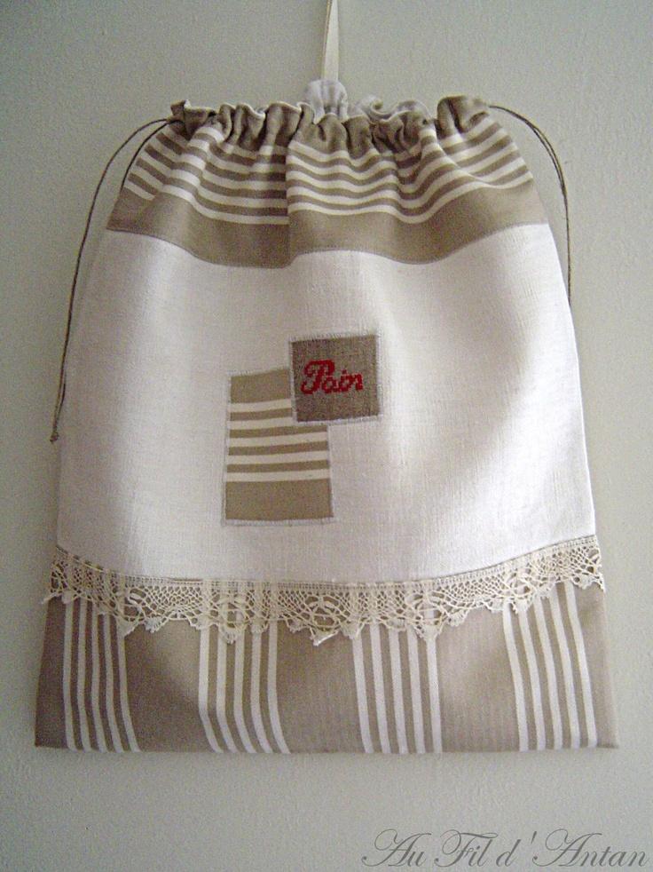 Grand sac à pain en linge ancien, toile rayée beige, pièce unique