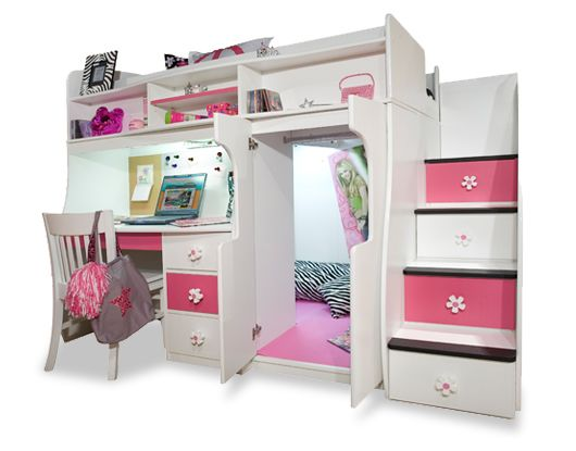 Girls loft beds for teens berg furniture play and study loft bed with computer desk teen - Amazing teenage girl desks ...