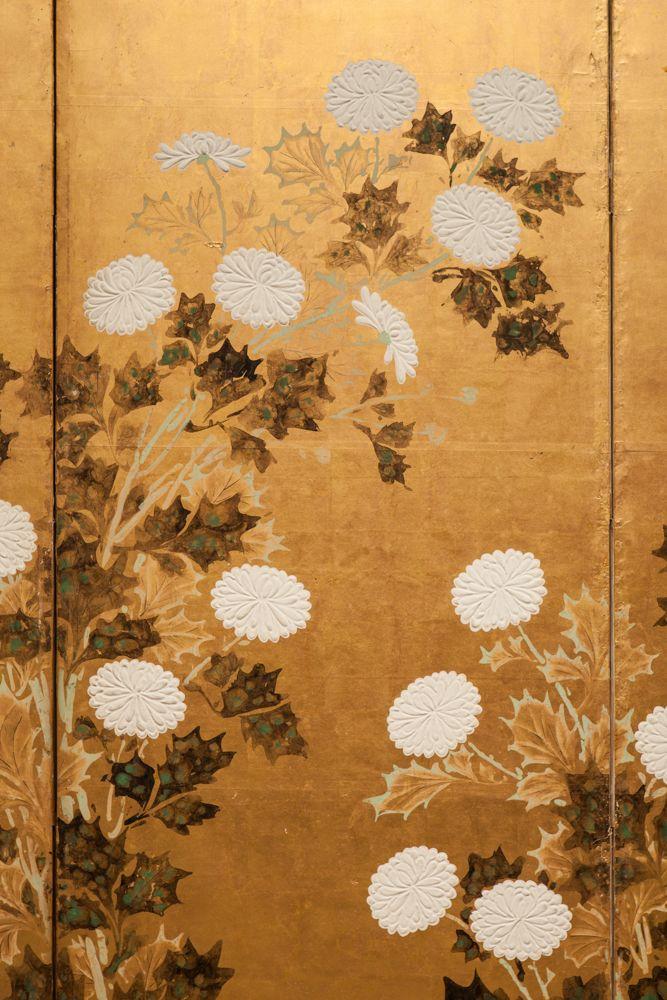 Japanese Screen: Chrysanthemums on Gold | Naga Antiques