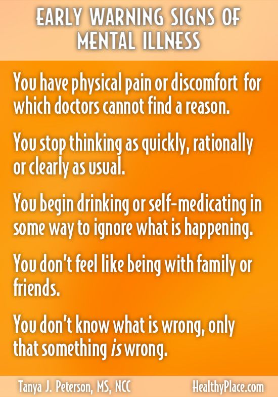 """""""There are early warning signs of mental illness. Knowing them helps people seek help. Find out the early warning signs of mental illness on HealthyPlace."""" www.HealthyPlace.com"""