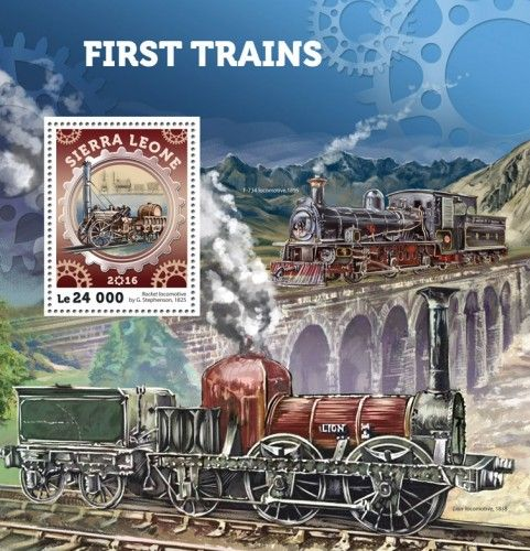 SRL16403b First trains (Rocket locomotive by G. Stephenson, 1825)