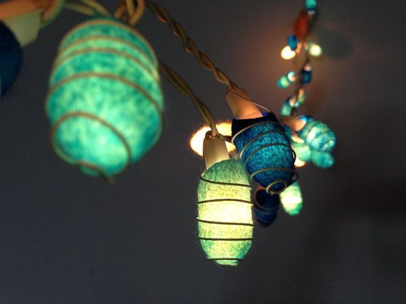 35 bulbs - Handmade Ocean Blue Cocoon  string lights for Patio,Wedding,Party and Decoration on Etsy, $16.99