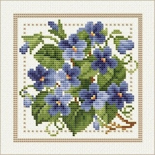 Good Life 2 Go: Free Cross Stitch Chart: Flower of the Month - February - Violet