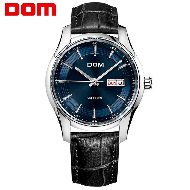 DOM  mens watches top brand luxury  waterproof quartz  Business leather watch  reloj hombre marca de lujo  M-517 #Affiliate
