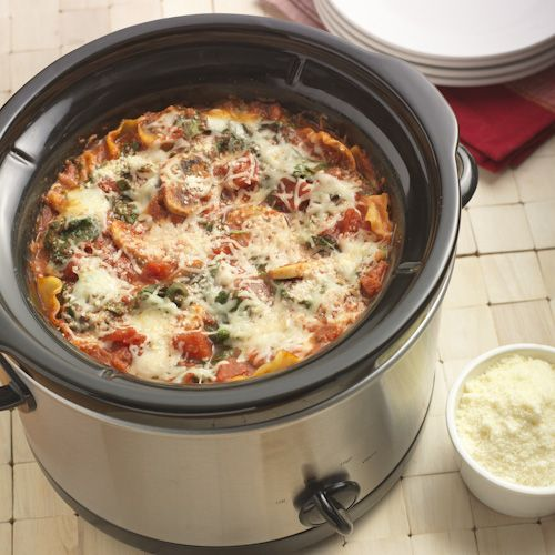 A vegetarian lasagna recipe made with a mushroom-spinach-tomato sauce layered with uncooked lasagna noodles and cheese in a slow cooker. Kraft® is a registered trademark of Kraft Foods, Inc.