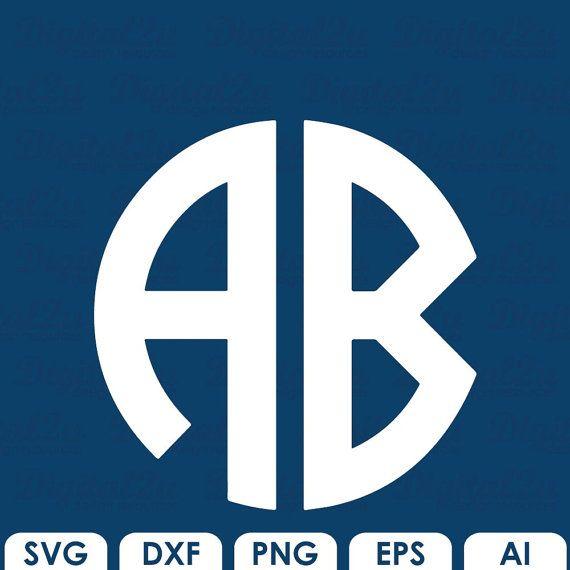 Cirkel Monogram SVG lettertype Letters alfabet snijden bestanden voor Cricut / silhouet svg dxf EPS-ai png-bestanden