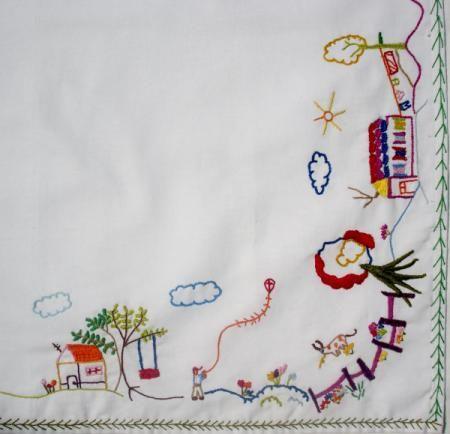 toalha de mesa naif toalha de mesa algodão 100%,linha de bordar clea bordado ponto livre