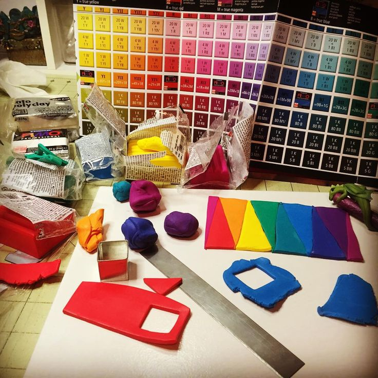 Having fun playing with clay on a Friday night. #ThanksFimo #FimoProfessionalColors #PolymerClayRainbows