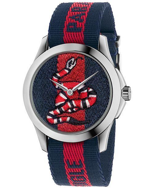 bd14fdeb40b Unisex Swiss Le Marché Des Merveilles Blue and Red Nylon Strap Watch 38mm  YA126493