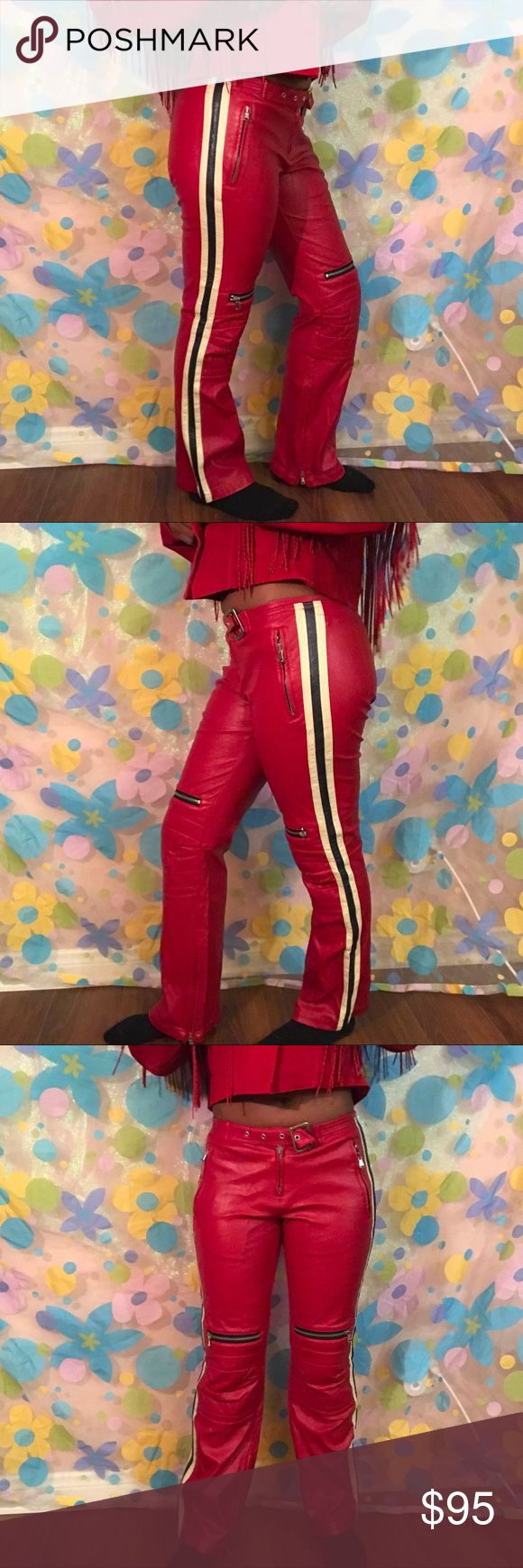 Replay red leather pants size 26 biker motorcycle