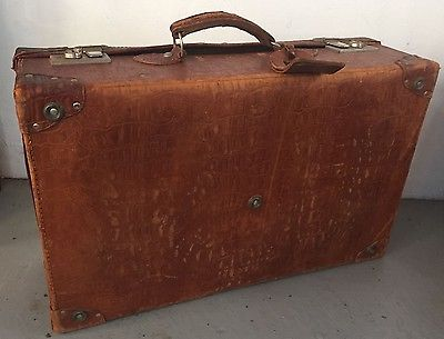 VINTAGE TOP BRAND HIDE LEATHER SUITCASE w TAG TRAVEL BAG LUGGAGE Shop front Fit  | eBay