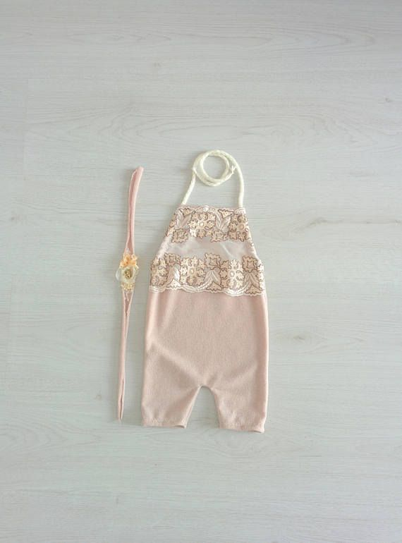 Lace bip baby romper Toddler overall Sitter set Upcycled girl