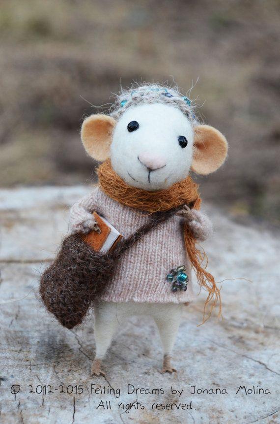 Little Traveler Mouse- Needle Felted Ornament - Felting Dreams by Johana Molina - READY TO SHIP