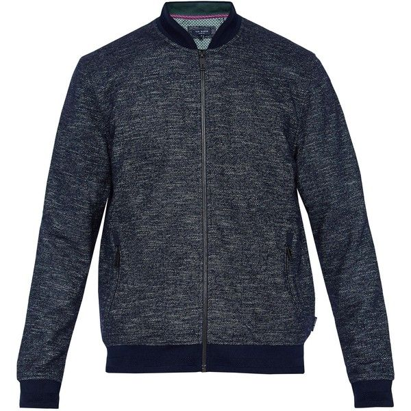 Ted Baker Tooba Jersey Bomber Jacket ($210) ❤ liked on Polyvore featuring men's fashion, men's clothing, men's outerwear, men's jackets, men coats and jackets, mens patch jacket, mens jackets, mens polyester bomber jacket and mens flight jacket