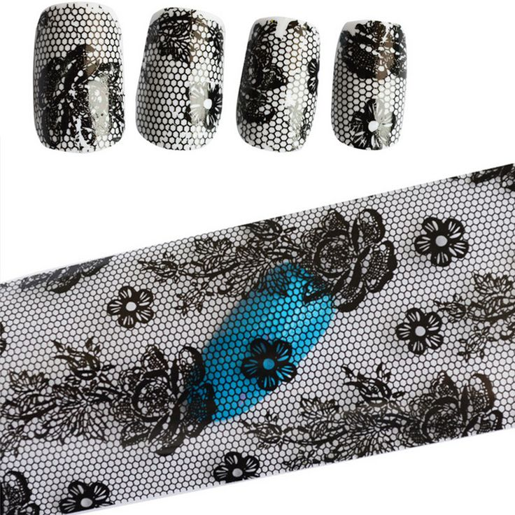 1pc Black Lace Flowers 100cmx4cm Adhesive Polish Foils Transfer Nails Art Sticker Design Nail Wrap Manicure Decor Tools STZXK12
