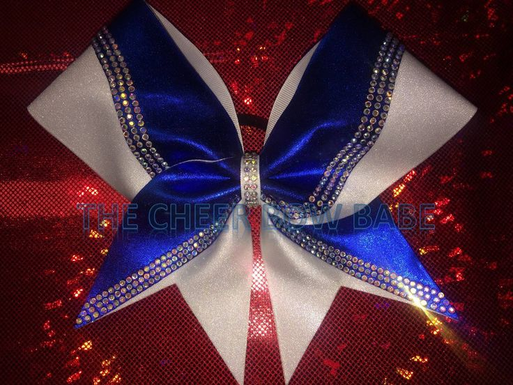 Swish Rhinestone Competition Cheer bow, Royal & White, TEAM, Color Guard, School, Competitive Cheer Bows, Cheerleader Gifts, Team Gifts by TheCheerBowBabe on Etsy