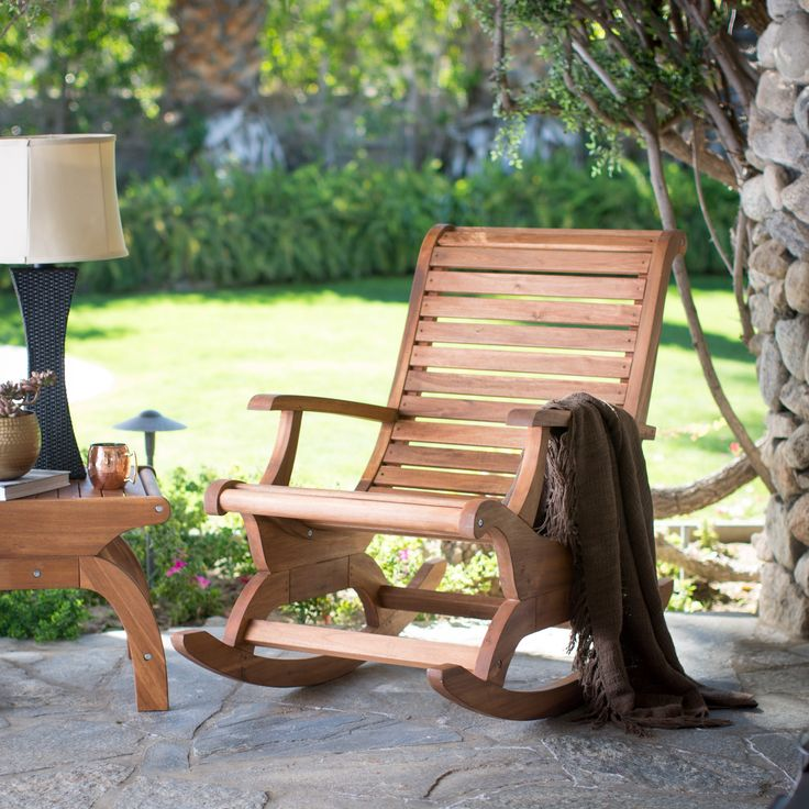Belham Living Avondale Oversized Outdoor Rocking Chair - Natural - With the spirit of Adirondack styling and the smooth sensibility of front-porch rocking, this Belham Living Avondale Oversized Outdoor Rocking Chair...
