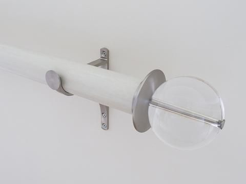 50mm dia. ecru stained wood curtain pole with acrylic ball finials, steel brackets