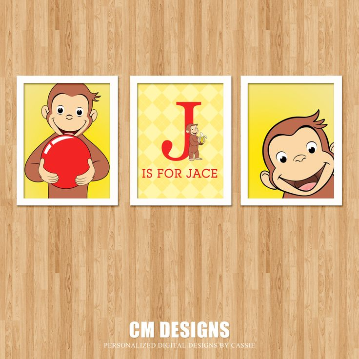 Curious George Wall Art by DesignsbyCassieCM on Etsy, $12.99