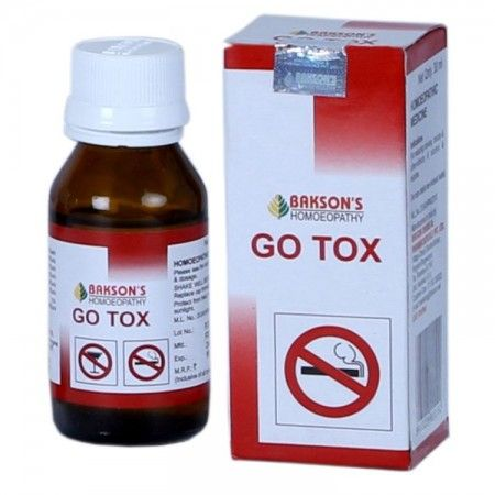Baksons Go Tox drops is a de-addiction homeopathic medicine that acts as a detoxifier to help you quit smoking and alcohol. Helps you in the smoking cessation effort by fighting the alcohol and nic…